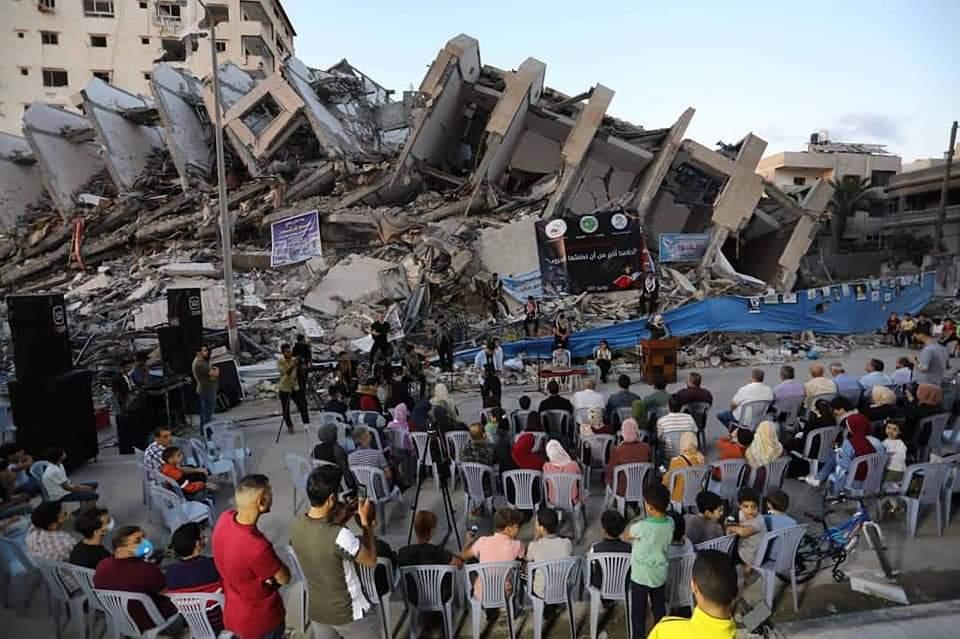 El pasado 4 de junio se realizó un concierto en Gaza, en una zona devastada por los bombardeos israelíes. Foto: Twitter / Hoy Palestina